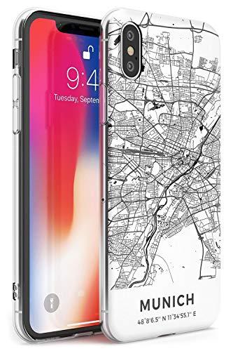 Case Warehouse Mapa de Munich, Alemania Slim Funda para iPhone XR TPU Protector Ligero Phone Protectora con Viaje Pasión De Viajar Europa Ciudad Calles