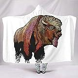 Cool Bison Sketched Artwork Fashion Fleece Hood Throw Blankets Wrap Lounging Chair Decoración para el hogar