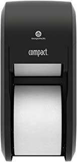 "Compact 2-Roll Vertical Coreless High-Capacity Toilet Paper Dispenser by GP PRO (Georgia-Pacific), Black, 56790A, 6.000"" W x 6.500"" D x 13.500"" H"