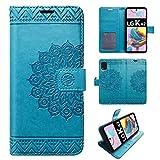 betterfon | LG K42 Hülle Handy Tasche Handyhülle Hülle Etui Schutzhülle mit Magnetverschluss/Kartenfächer für LG K42 Blau