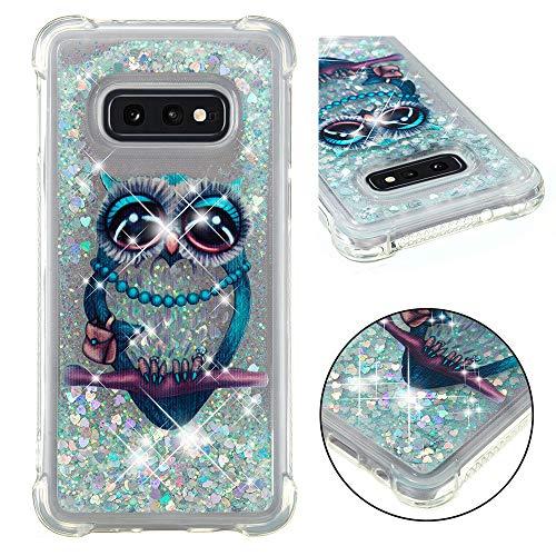 Asdsinfor Galaxy S10E Case Fashion Shiny Transparent Soft TPU Creative Cartoon Cute Quicksand with Shiny Flowing Liquid Cover for Samsung Galaxy S10E Gary Owl YB-LS
