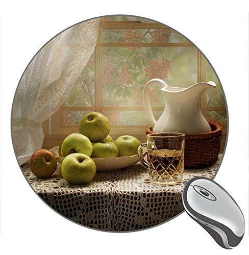 Green Apples Cup Kettle Fenstertisch Print Round Desktop Mouse Pad Gaming Rubber Mouse Pad