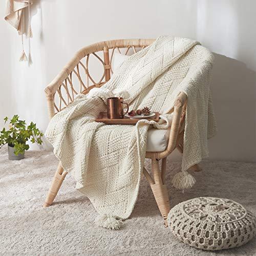MYLUNE HOME Manta de chenilla de punto para acurrucarse en el sofá, mirando la TV siesta en la silla, 130 x 160 cm, hoja blanca