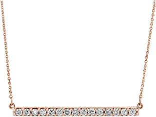 10K White, Rose, or Yellow Gold Horizontal Diamond Bar Necklace Pendant 1/4 Cttw (I-J Color, I2-I3 Clarity), 16 inch, by Brilliant Expressions