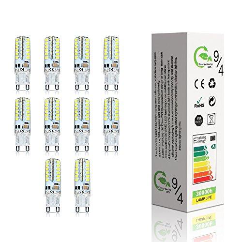 ELINKUME 10 Stück LED lampen G9 4W LED Leuchtmittel 48*2835 SMD LEDs Kaltweiß High-Power energiesparlampen AC220-240V (18×50mm)
