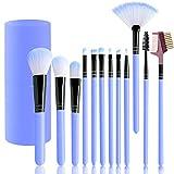 Set de brochas de maquillaje profesional,12 piezas Pinceles de maquillaje,Premium Synthetic Foundation Brush Blending Face Powder Blush Concealers Kit de pinceles con caja de regalo(Azul)