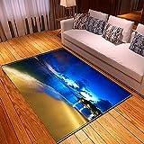 xiangpiaopiao Alfombra Alfombra Hermoso Cielo Paisaje De La Ciudad Starry Sky3D Impreso Decoración del Hogar Alfombra Suave Antideslizante (03297Dt) 180X180Cm