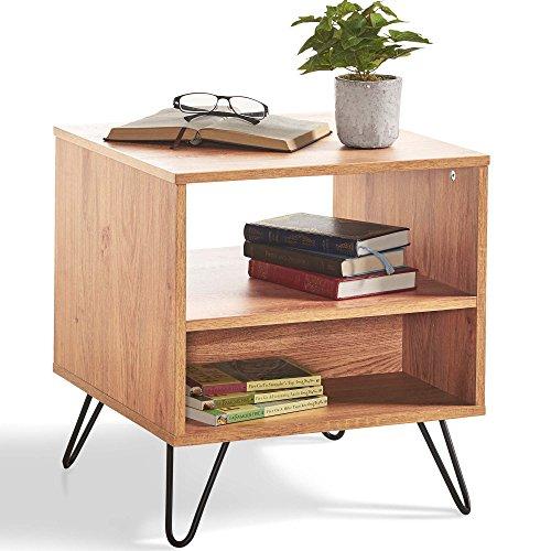 Table d'appoint design - Table de Chevet/de Nuit Imitation chêne — Mobilier de Salon et de Chambre au Design rétro/Vintage/scandinave