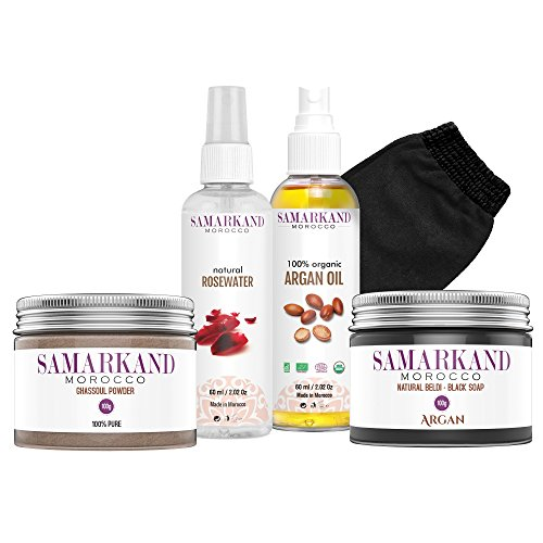 Traditionelles Hammam-Set aus Marokko zum Peeling und für verbesserte Hautfeuchtigkeit mit schwarzer Seife, Bio-Ghassoul Tonerde, Bio-Arganöl, Rosenwasser & einem Kessel-Kessa-Massage-Handschuh