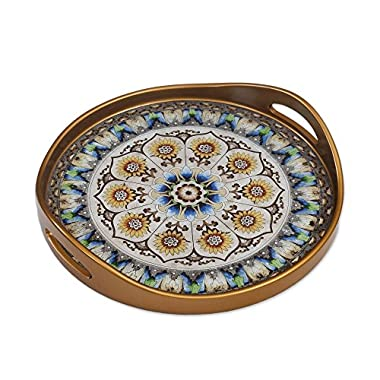 NOVICA Blue and White Reverse Painted Glass Round Tray, Blue Andean Mandala'