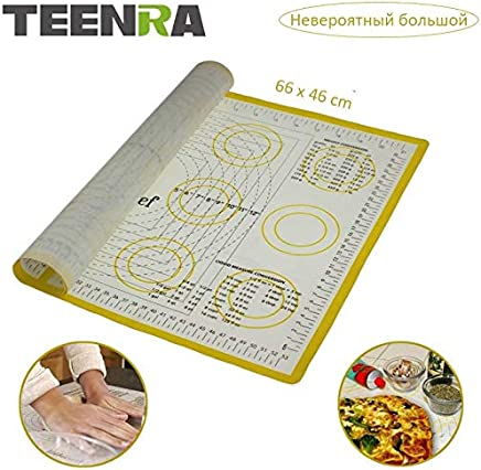 Silicone Macaron Baking Mat - TEENRA Ex-large Silicone Mat for Oven Sheet Scale Rolling Dough Mat Non-stick Confectionery Tools