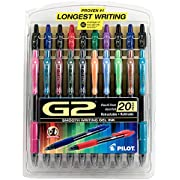 Pilot G2 Retractable Premium Gel Ink Roller Ball Pens Fine Pt (.7) Assorted; Retractable, Refillable & Premium Comfort Grip; Smooth Lines to the End of the Page, America's #1 Selling Pen Brand