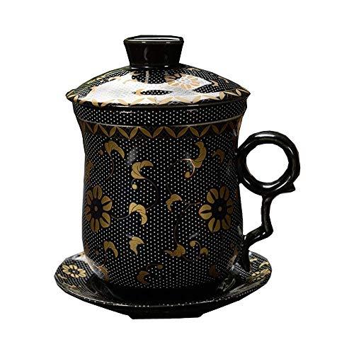 JCXOZ China de Hueso la Taza de café, té de la Tarde Taza de café con platillo, Servicios de té de cerámica, for Regalo, Negro