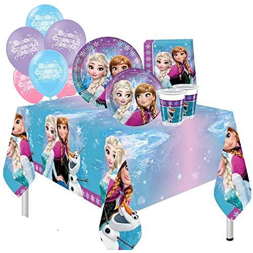 ocballoons Kit Festa Compleanno Frozen Principesse Elsa Anna 8 Ospiti 57pz Tavola Party Addobbi e Decorazioni 8 Piatti 8 Bicchieri 1 Tovaglia 20 tovaglioli Palloncini (8 Persone)