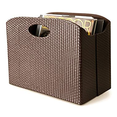 Blu Monaco - Quality Leather Magazine Basket Holder Bin Rack and Storage - (Woven Brown) - Use for Coffee Table, Side Table, Living Room, Reception Desk
