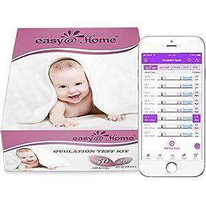 50 Pruebas de Ovulación ultrasensibles (25mlU/ml) y 20 Pruebas de Embarazo ultrasensibles (10mlU/ml), Kits de Tests de Ovulación y Fertilidad, Resultados Precisos con la App Premom (iOS & Android) Español