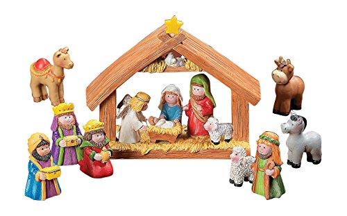 Fun Express Mini Christmas Nativity Set Stable with Jesus Mary Joseph Wisemen - 9 Pieces