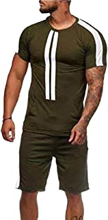 Men's Casual T-Shirts and Shorts Running Jogging Athletic Sports Set Tracksuit