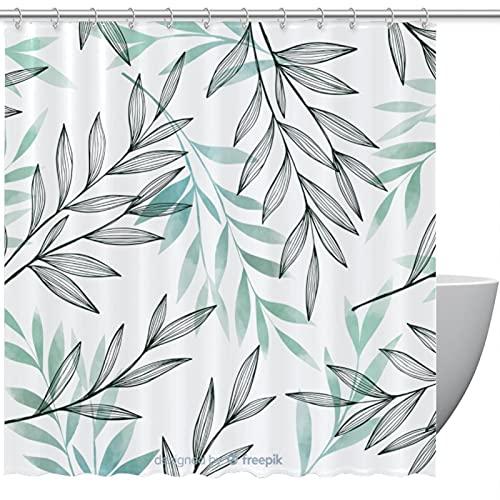 KAMEARI Duschvorhang, grau-blaue Blätter, für Badezimmer, 152,4 x 182,9 cm, 167,6 x 182,9 cm, 182,9 x 182,9 cm