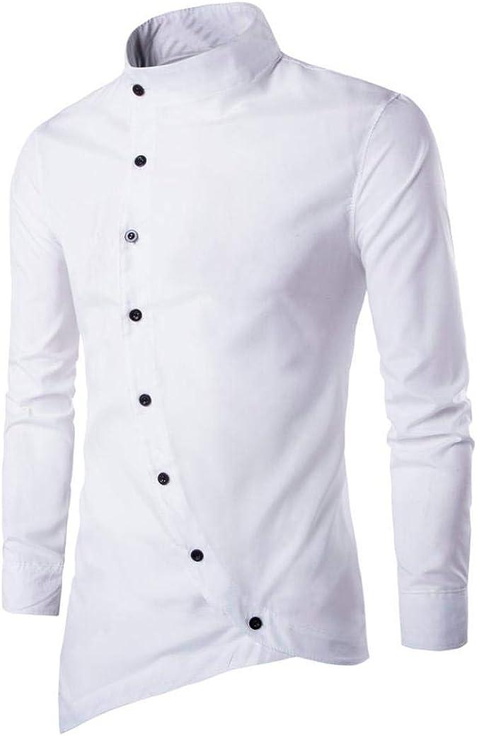 Mens Slim Fit Shirt Irregular Long Sleeve Banded Collar Oblique Button Solid Top