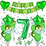 Herefun 7er Globos de Cumpleaños, 7er Decoraciones de Cumpleaños Globos Niño, Globos Número 7 Digitales Gigante del Papel de Aluminio, Globo de Cumpleaños Fiesta Decoración Verde (7er)