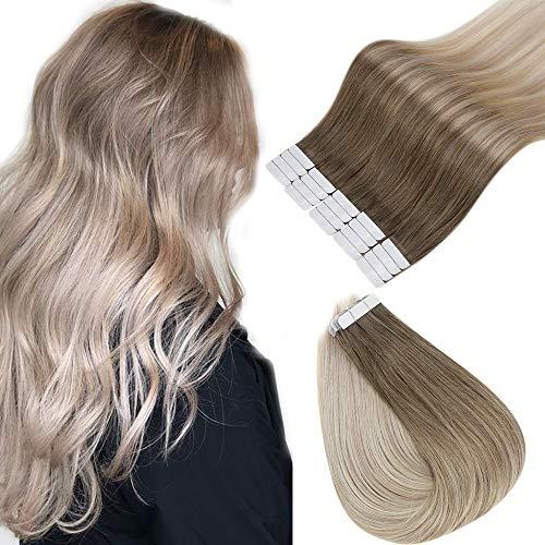 Full Shine Klebeband in Selbstklebenden Haarverlängerungen Haarfarbe # 8 Aschbraun Verblassend zu # 60 und # 18 Aschblond Doppelte Remy Haar Kleberstreifen Doppelseitig 20 Stück 14 Zoll
