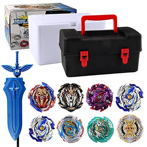 Xbtianxia Peonzas Juguetes Conjunto, 8 PCS Turbo Burst Gyro Spinners y 2 Lanzador Set con Caja Portátil, Cumpleaños, Navidad Regalo, Juguetes Niños