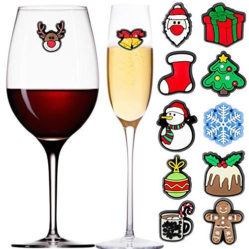 Aneco - 12 pezzi per calici da vino, magnetici, per cocktail, Natale, vino, bevande, bicchieri e bicchieri per Natale