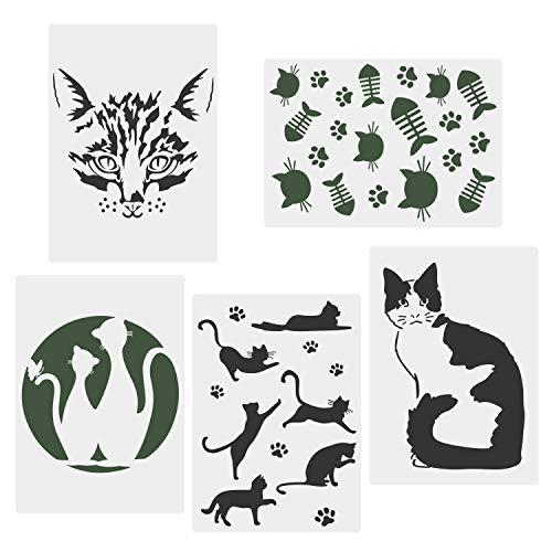 CODOHI Katzenschablonen, 5 Packungen A4 Katzenklaue für Kunsthandwerk Wiederverwendbare Mylar-Vorlage für Journaling, DIY Wohnkultur Rock Art Projekte Malen, Backen von Keksen, Wand 21x29.7cm