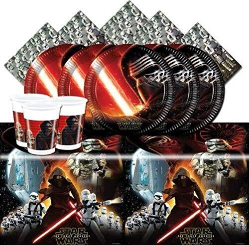 CAPRILO. Lote de Cubiertos Infantiles Star Wars Force Awakens (8 Vasos, 8 Platos(23 cm), 20 Servilletas y 1 Mantel) .Vajillas para Fiestas de Cumpleaños, Bodas, Bautizos y Comuniones.