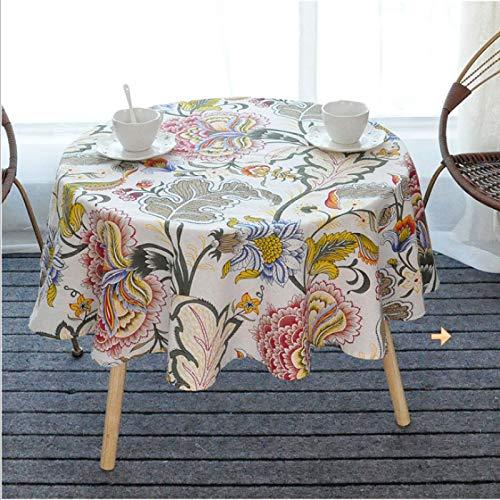ASSDG Tischdecken Küche Restaurant Wohnzimmer Haushalt Retro Art Nostalgische Baumwolle und Leinen Runder Tisch Antifouling Faltenfrei Waschbar 120 * 120cm
