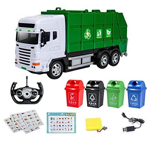 Moerc A distanza giocattolo dei bambini dell'automobile del veicolo di immondizia del camion di 2,4 GHz elettrico Environmental Protection Sanitation di simulazione Garbage selezione e riciclaggio gio