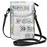 Jiger Women Small Cell Phone Purse Crossbody,Celtic Ornament Patterns Set Colorful Vibrant Entangled Gaelic Ethnic Ancient Borders