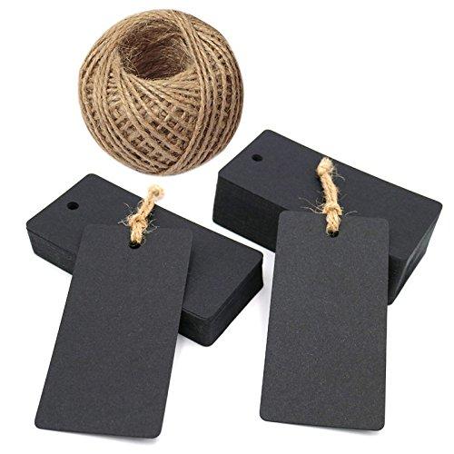 100 piezas Etiquetas Papel Kraft 9 x 4,5 cm Etiquetas de Carton para Regalos con 30M Cuerda de Yute para Bodas Decoración Bricolaje, Negro