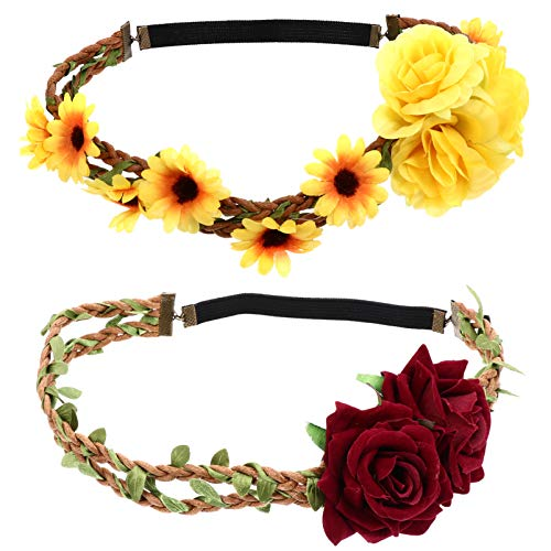 PIXNOR 2pcs Flower Crown Elastic Floral Garland Headband Rose and Sunflower Hair Wreath for Wedding Party Festival