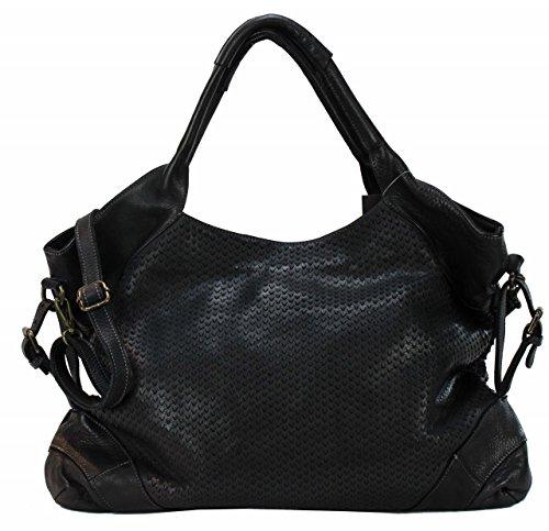 BZNA Bag Tia Schwarz nero black Italy Designer Damen Handtasche Schultertasche Tasche Leder Shopper Neu