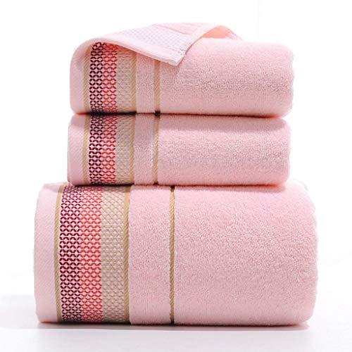 Juego de toallas de baño de 3 piezas, toallas de algodón peinado supersuaves, toallas absorbentes, cara extra gruesa, rosa