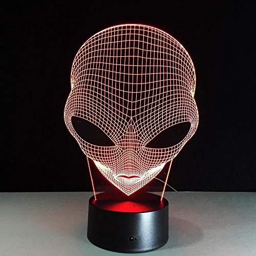 HXFGL Luz de noche 3D Alien head 7 colores luz nocturna lámpara de mesa LED luz para niños decoración de sala de estar regalo exquisito para niños