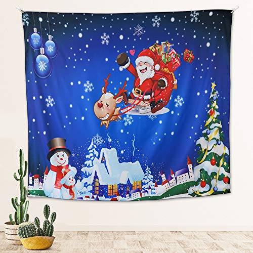 HIPPIH Joyous Christmas Tapestry Wall Hanging Christmas Decoration Lovely Wall Tapestries with Snowman, Santa Claus Pattern Home Decor Xmas Festive Tapestry Wall Art for Living Room Bedroom Party