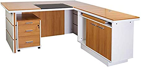 Mahmayi Zelda Melamine Modern Desk Storage Unit with 3 Drawers Dual Tone finish - Brown/White