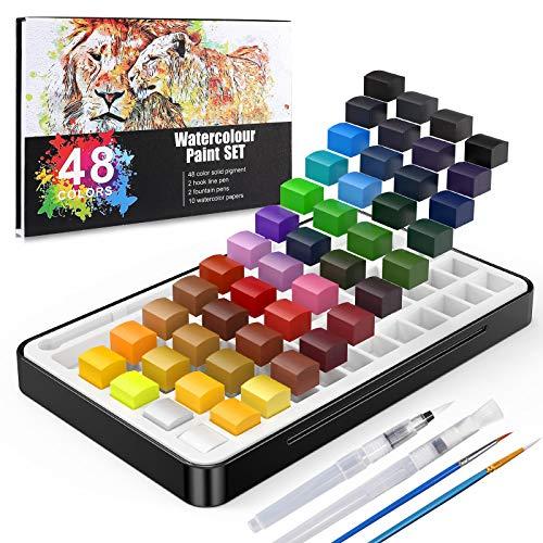 Gifort Set de Pintura de Acuarela, 48 Colores Surtidos Set de Acuarela Portatil con Caja de Metal Sólido, Pinceles de Agua y Papeles de Acuarela para Niños, Principiantes, Profesionals