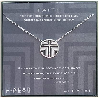 EFYTAL Religious Gifts 925 Sterling Silver Linear Cross Necklace Geometric Pendant Jewelry for product image