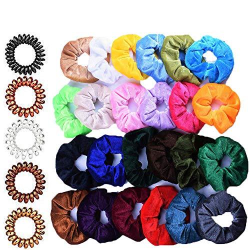 24 stuks haarelastiekjes meisjes fluweel en 8 spiraalvormige haarbandjes haarspeldjes bont elastisch fluwelen hoofdbanden voor dames telefoonkabel paardenstaart houder voor dames en meisjes