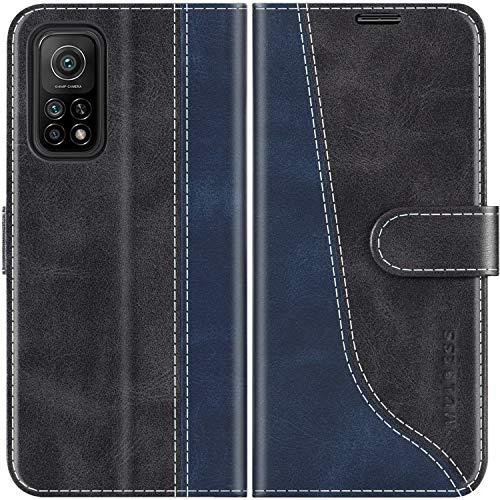 Mulbess Handyhülle für Xiaomi Mi 10T Hülle, Xiaomi Mi 10T Pro Hülle Leder, Etui Flip Handytasche Schutzhülle für Xiaomi Mi 10T 5G / Mi 10T Pro Hülle, Schwarz
