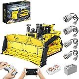Myste Técnica Bulldozer D11 con mando a distancia de 2,4 G/APP y 4 motores, carga frontal Bulldozer Engineering Camiones de construcción, 1988 bloques de montaje compatibles con Lego Technic