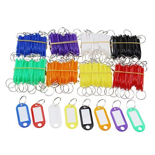 160 Stück 8 Farben sortierte Kunststoff-Schlüsselanhänger ID-Etiketten mit geteiltem Schlüsselring