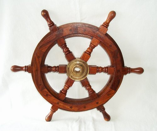 XL Steuerrad Schiffssteuerrad handgefertigt aus Holz und Messing, 60 cm