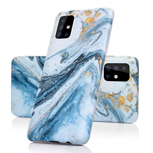 Vogu'SaNa Kompatible für Handyhülle Samsung Galaxy A51 Hülle Marmor Silikon Matt Marble Muster Hülle Cover Weiche Tasche Dünn Schutzhülle Handytasche Skin Softcase Schale Bumper TPU Etui-Blau Sea