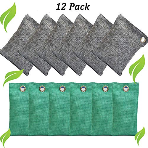 SESEAT 12 Packs Activated Charcoal Air Purifying Bag 6x200g 6x50g, Natural Air Purifier Bags Odor Absorber, Coconut Charcoal Air Freshener for Home, Car, Pet, Closet
