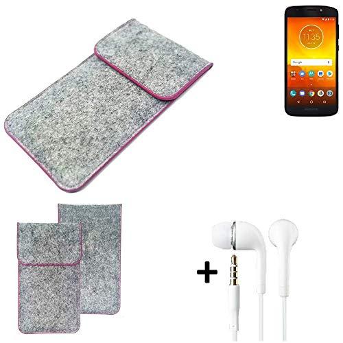 K-S-Trade Filz Schutz Hülle Für Motorola Moto E5 Dual SIM Schutzhülle Filztasche Pouch Tasche Hülle Sleeve Handyhülle Filzhülle Hellgrau Pinker Rand + Kopfhörer